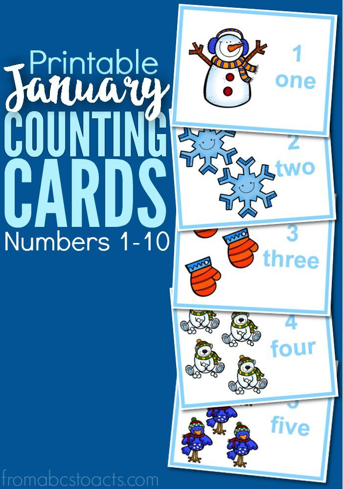 Printable January Counting Cards Numbers 1-10 | January, Winter and ...
