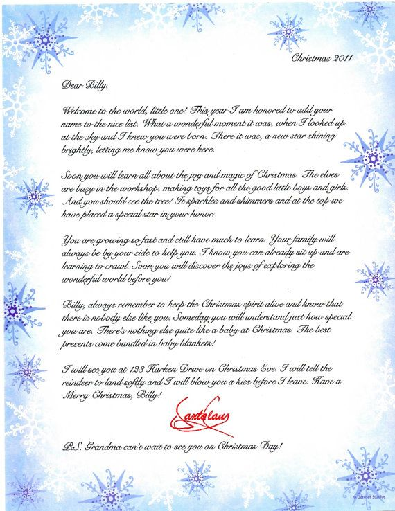 Personalized BabyS First Christmas Letter From Santa