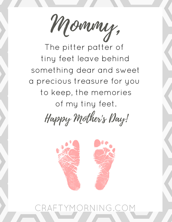 Free Pitter Patter Of Tiny Feet Printable Poem For Mom On Motheru0027s Day   Crafty Morning