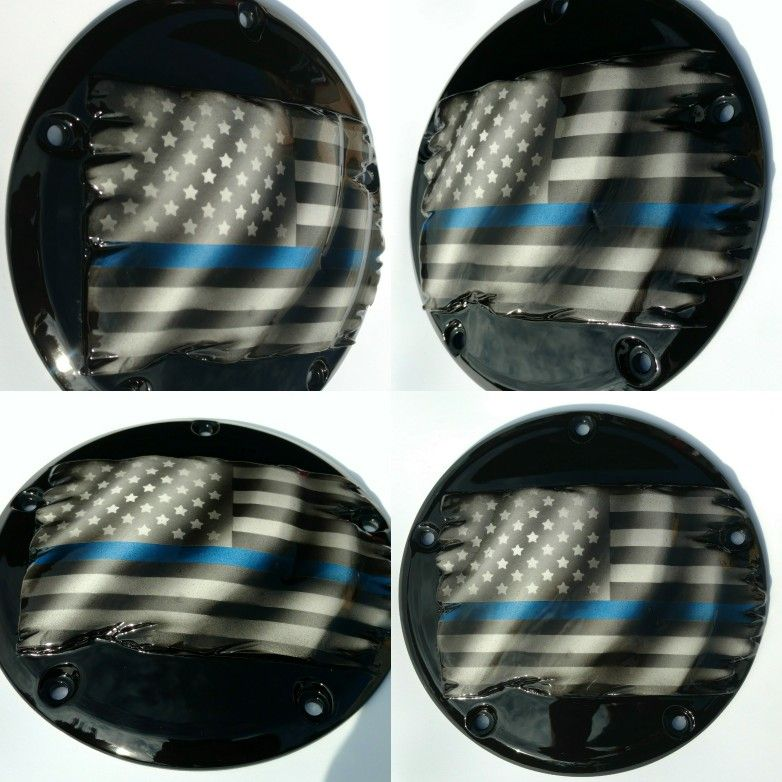 Outstanding Thin Blue Line Theme Derby Cover For Harley Davidson Custom Caraccident5 Cool Chair Designs And Ideas Caraccident5Info