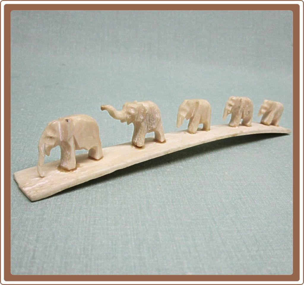 Elephants Carved Bone Marching Family Found In Cobayley Vintage Jewelry Antiques On Ruby Lane Elephant Carving Elephant Bone Carving