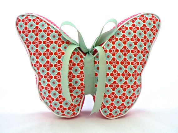 Butterfly Pillow Coral and Pale Aqua by CecilClyde on Etsy