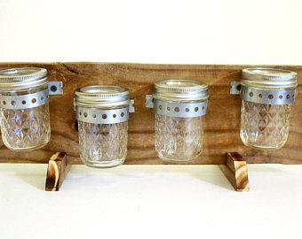 Mason Jar Bathroom Storage - Vertical Rustic Wood Mason Jar Organizer with Hooks #masonjarbathroom