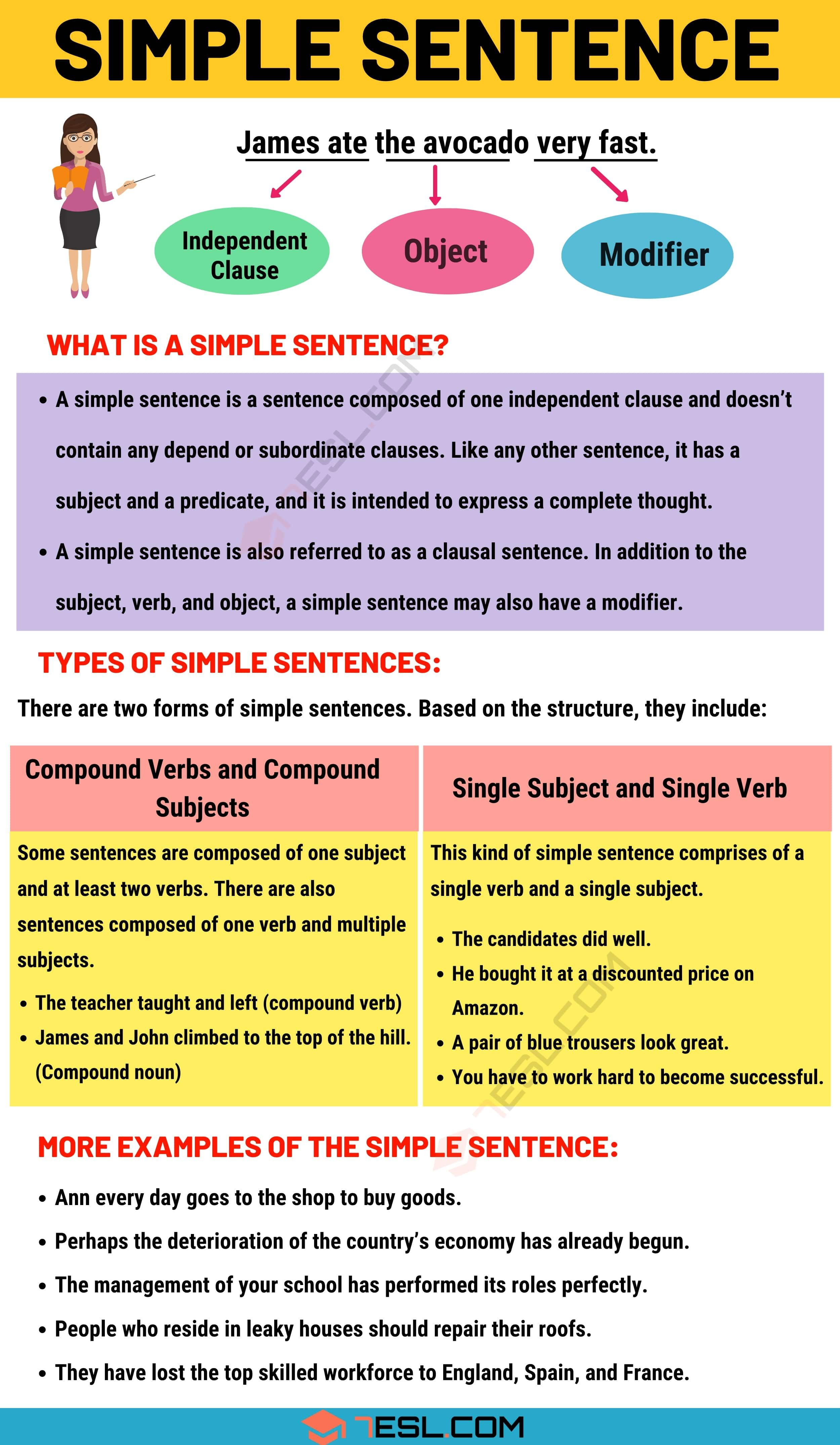 Simple Sentence: Examples And Definition Of Simple Sentences - 7 E S L in  2020 | Simple sentences, Simple english sentences, English sentences
