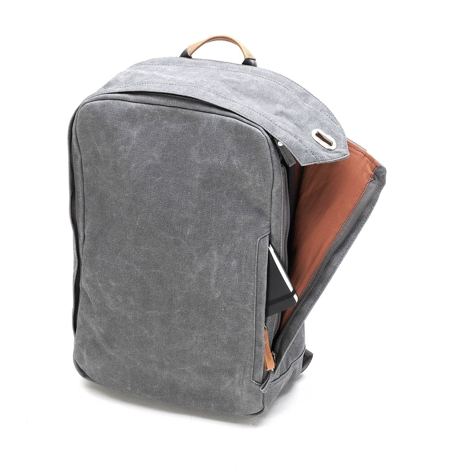 Washed grey backpack; Qwstion