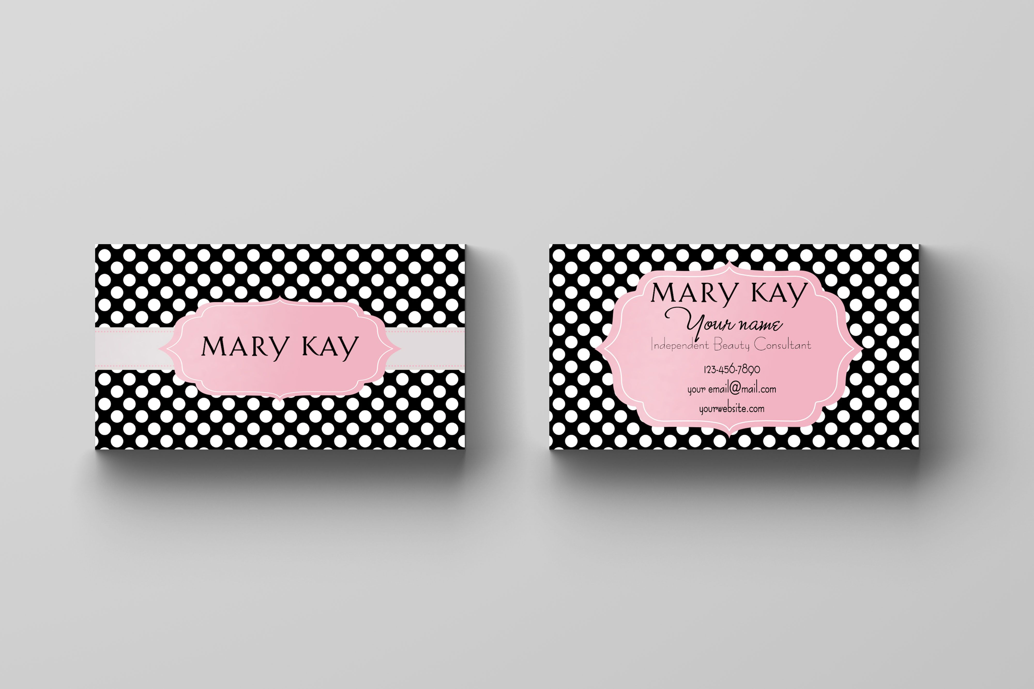 Mary Kay Business Card Black Polka Dots Kakaodesigns Mary Kay Business Cards Mary Kay Business Business Card Black
