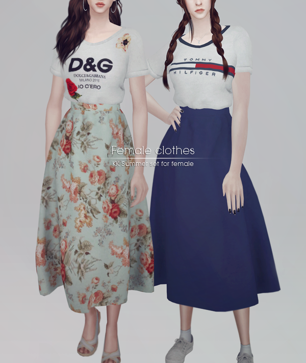890f1a1bc3ba KK's Sims4 | Female Clothes (Top & Skirt) | The Sims | Sims 4, Sims ...