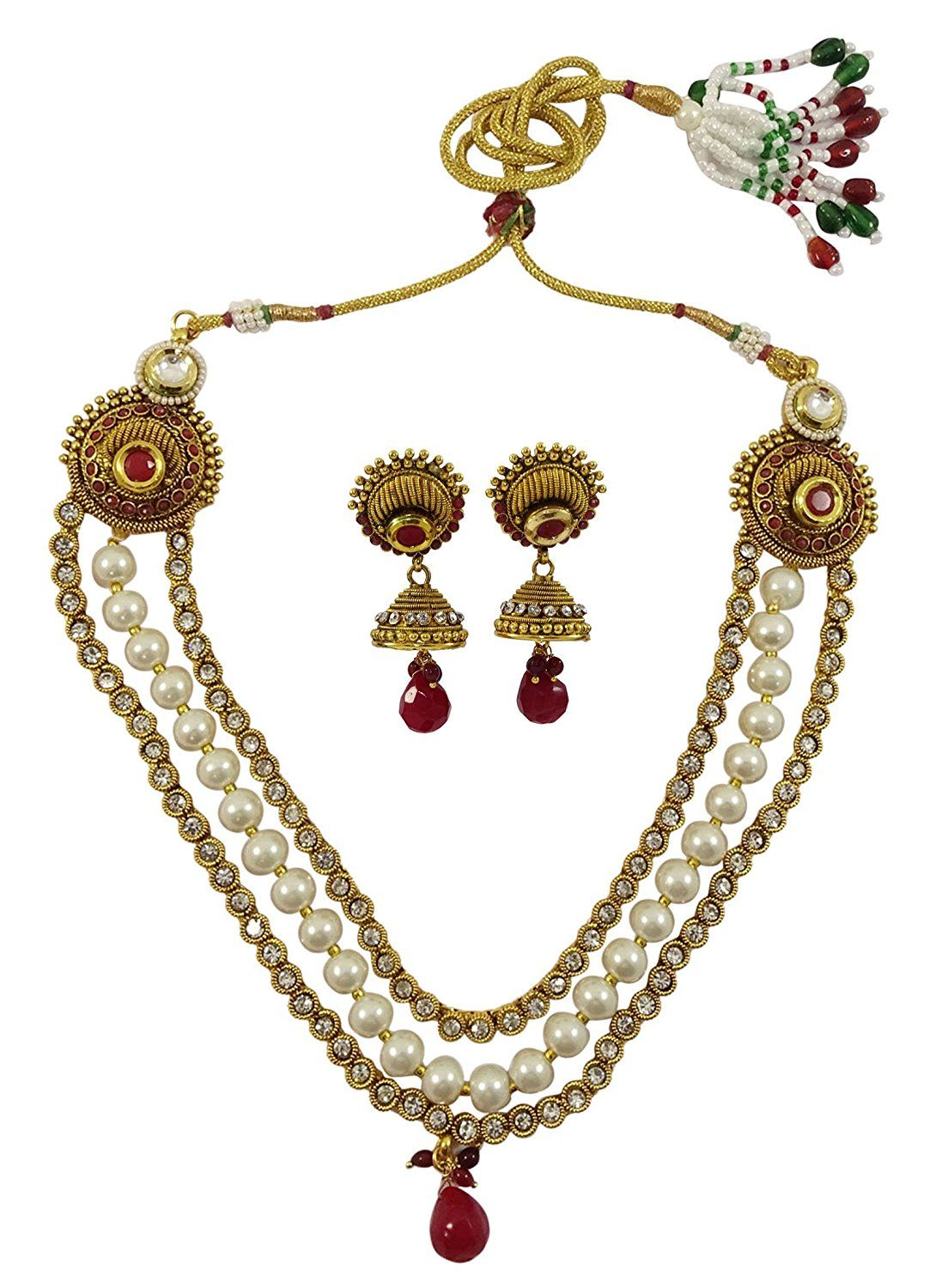 Jewelry & Watches Traditional Indian Goldtone Cz Stone Necklace Set Designer Women Party Jewellery