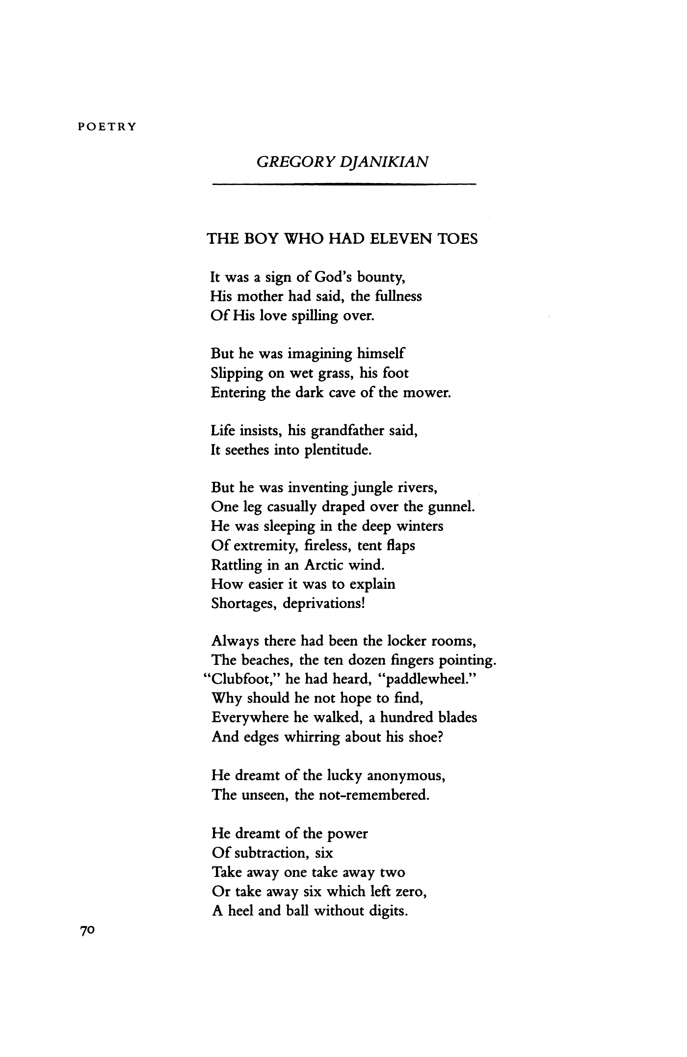 The Boy Who Had Eleven Toes By Gregory Djanikian Poetry Magazine