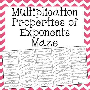 this multiplication properties of exponents maze is a selfchecking  this multiplication properties of exponents maze is a selfchecking  worksheet that allows students to strengthen their skills at simplifying  exponential