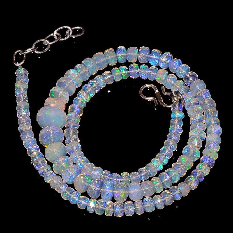 "72CRTS 4to7MM 18"" ETHIOPIAN OPAL FACETED RONDELLE BEADS NECKLACE OBI2119 #OPALBEADSINDIA"