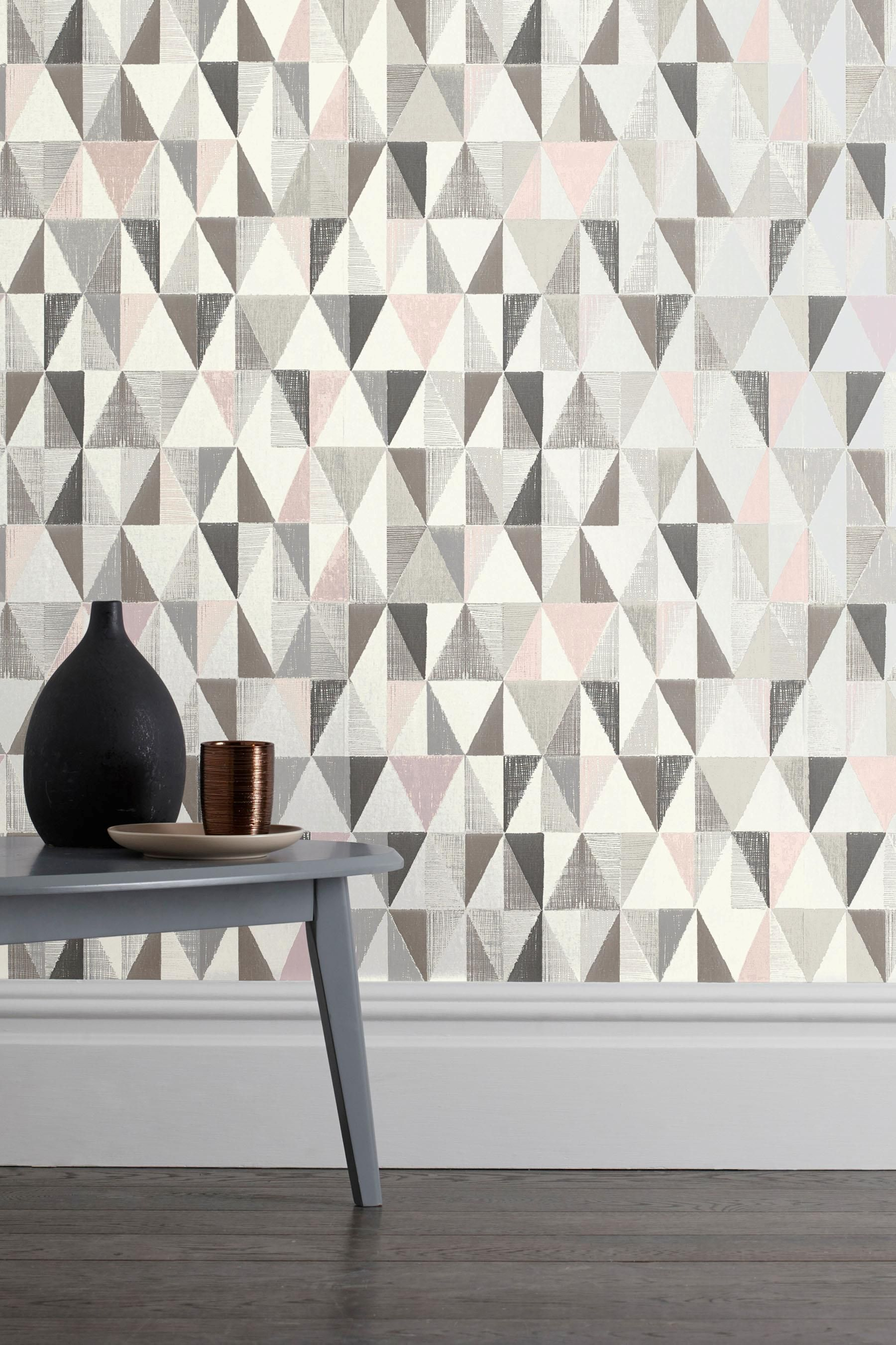 Buy geo wallpaper from the next uk online shop wallpaper for Pink and grey bedroom wallpaper