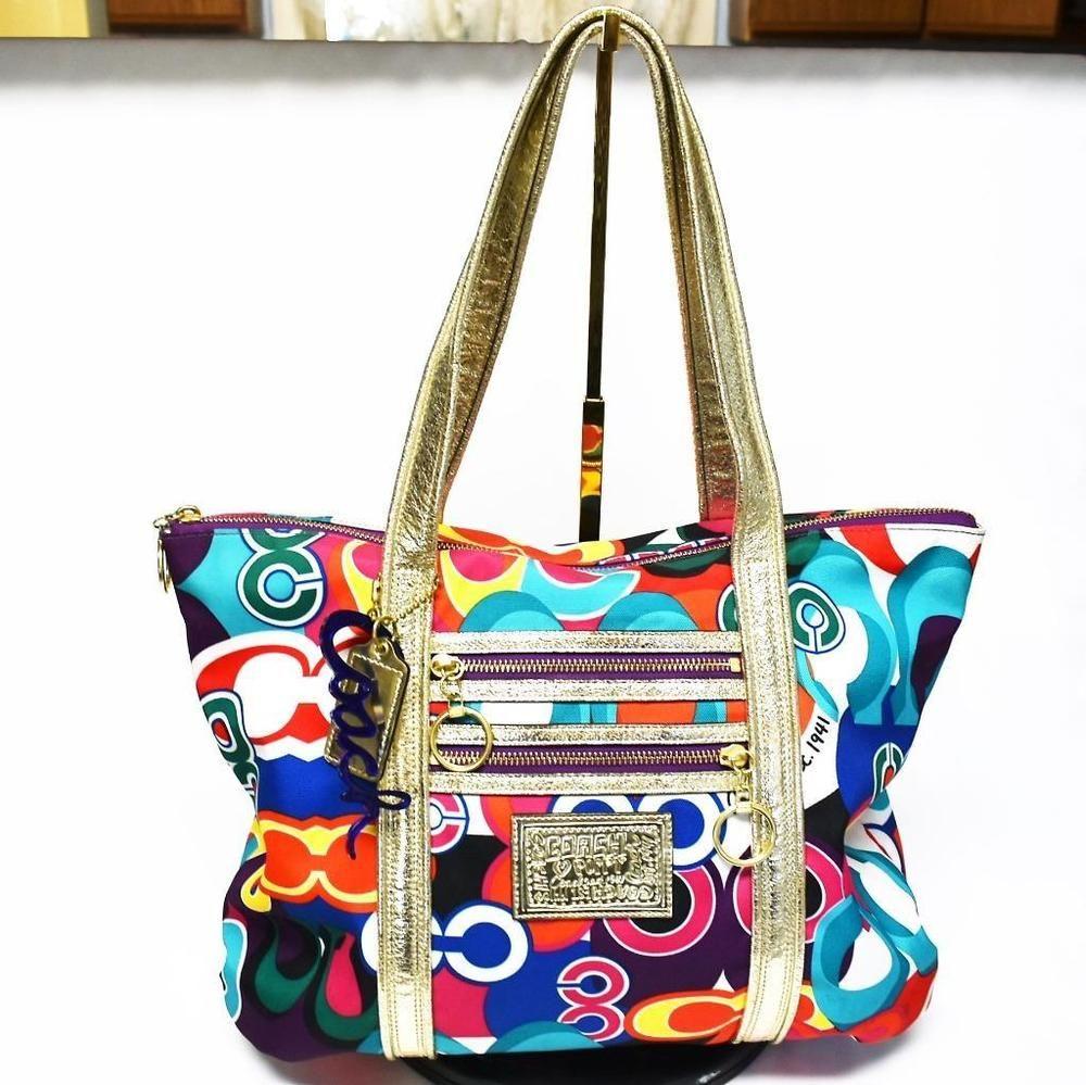 Coach Poppy Pop C Graffiti Glam Handbag Fabric Leather Multi Color Discontinued Tote