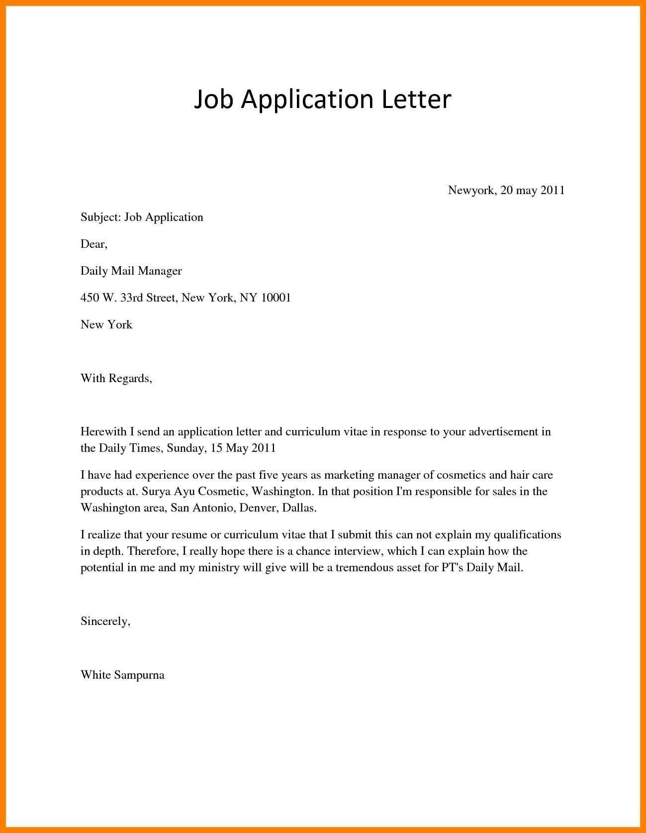 26 Cover Letter For Applying Job  Cover Letter For