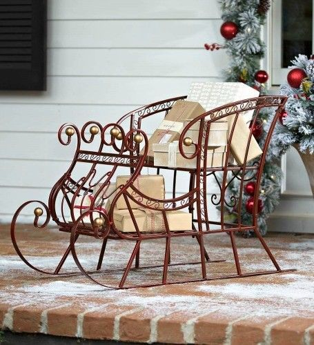 Details about Christmas Sleigh Holiday Decor Large Porch Decor