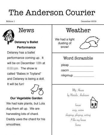 Newspaper Project For Kids With Great Ideas For Articles