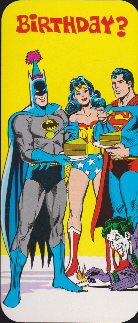 1978 SUPERMAN BATMAN Wonder WOMAN Joker Retro Studio Greeting Card Vintage Old Stock Unused Superheroes Dc Comics Cartoon Birthday Cake