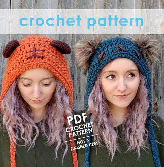Star Wars Crochet Pattern Ewok Inspired Crochet Hat Bear Ears Hat