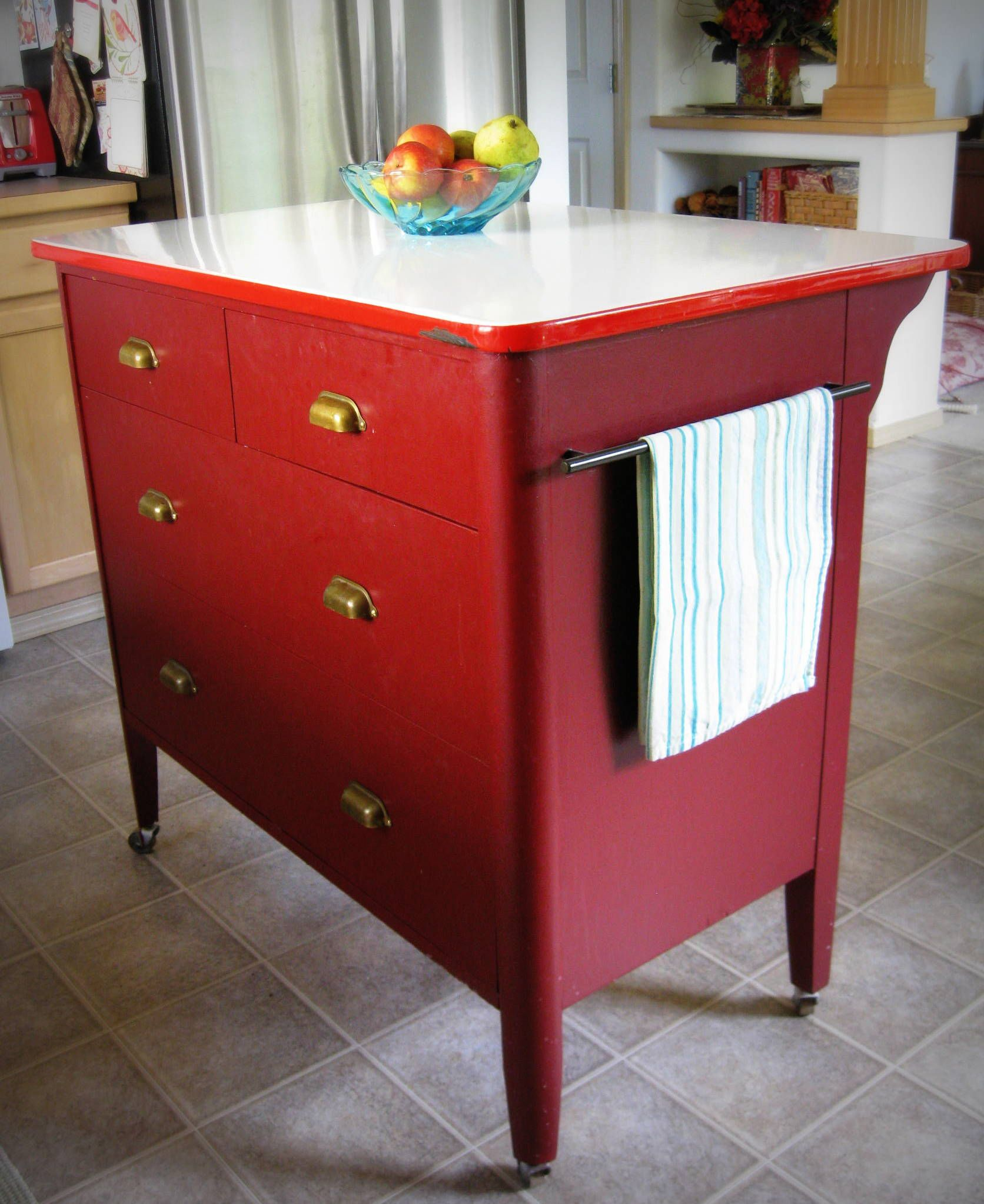 Kitchen Islands Made From Old Furniture: Dresser Turned Into Kitchen Island. Took Dumpy, Yellow