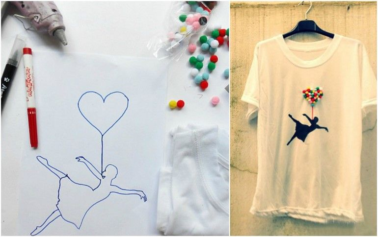 How To Decorate Plain White T Shirt Using Red Textile Pen And Pompoms Tee Shirts Diy Diy Shirt T Shirt Diy