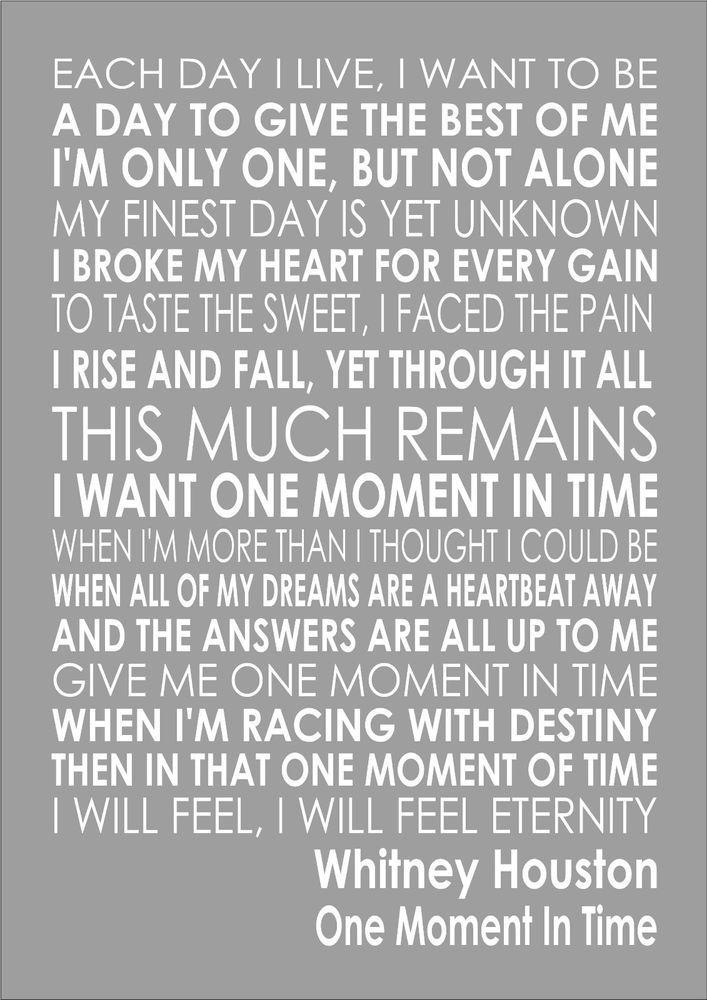 Lyric flashdance lyrics : Whitney Houston- One Moment In Time - Word Wall Art Typography ...