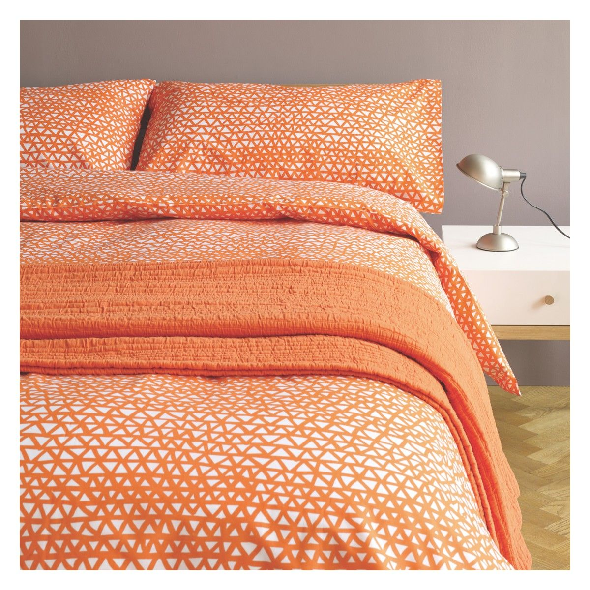 Add Zesty Colour And Lively Pattern To A Bedroom With The Noah Orange Triangle Print Kingsize Duvet Set Featuring Bold Hand Drawn Design