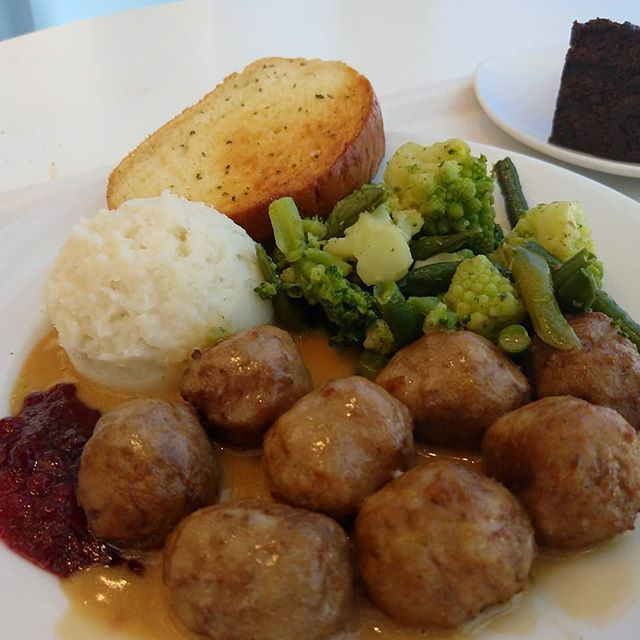 IKEA meatballs and chocolate cake