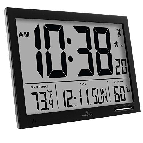 Wall Clocks Decor Marathon Cl030062bk Slimjumbo Atomic Digital Wall Clock Black Check Out The Image By Visiting The L Atomic Wall Clock Clock Digital Wall