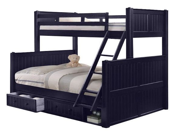 Annapolis Blue Twin over Queen Bunk Bed Queen bunk beds