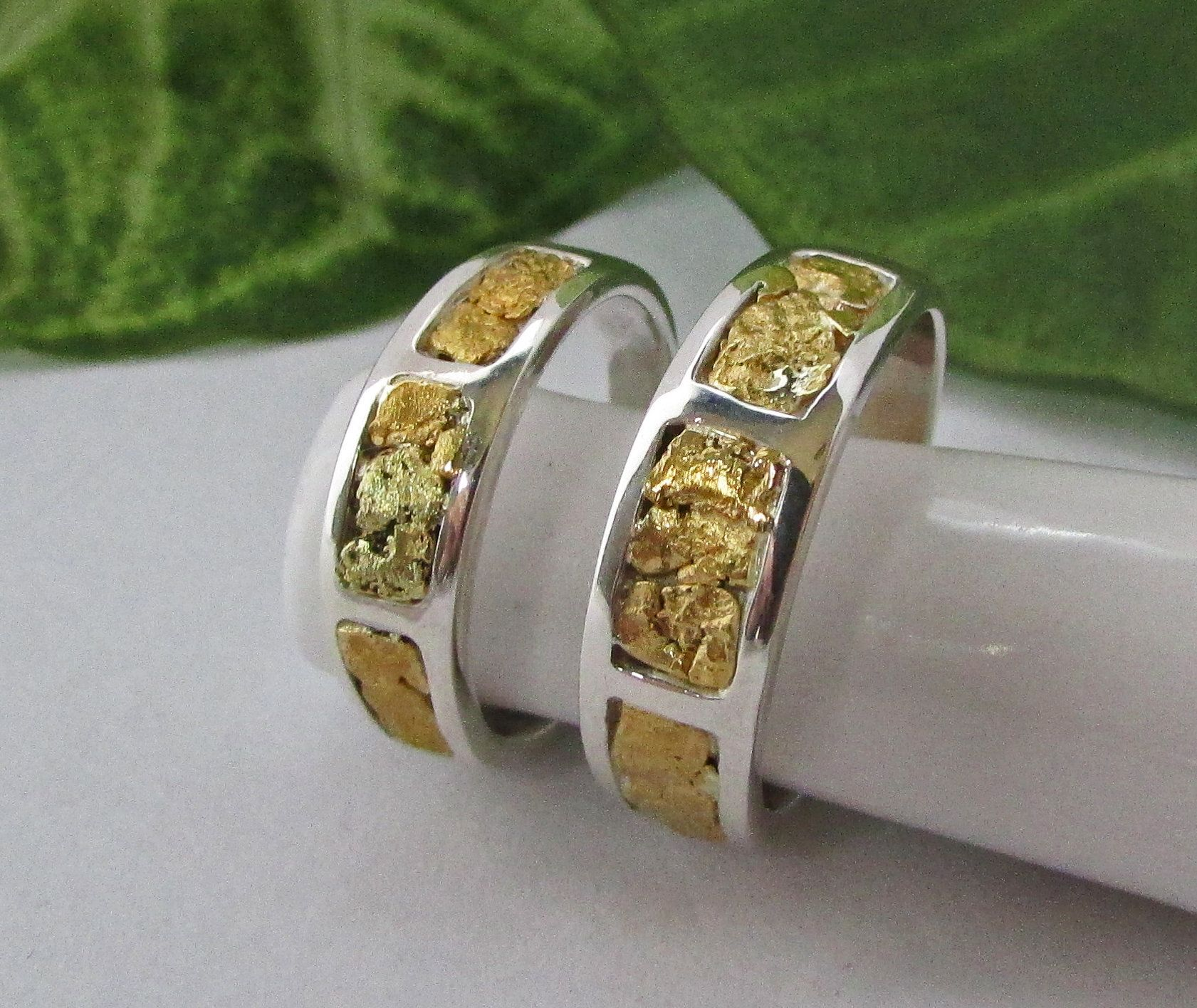 Gold nugget wedding bands his and hers gold nugget