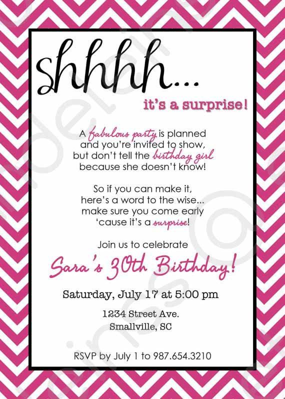 Chevron Surprise Party Invitation Printable Invitation Sweet - Birthday invitation wording surprise party