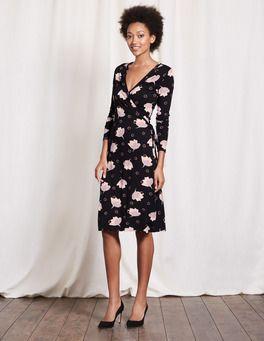 1518fb56781 Black Floral Spot Wrap Dress Boden