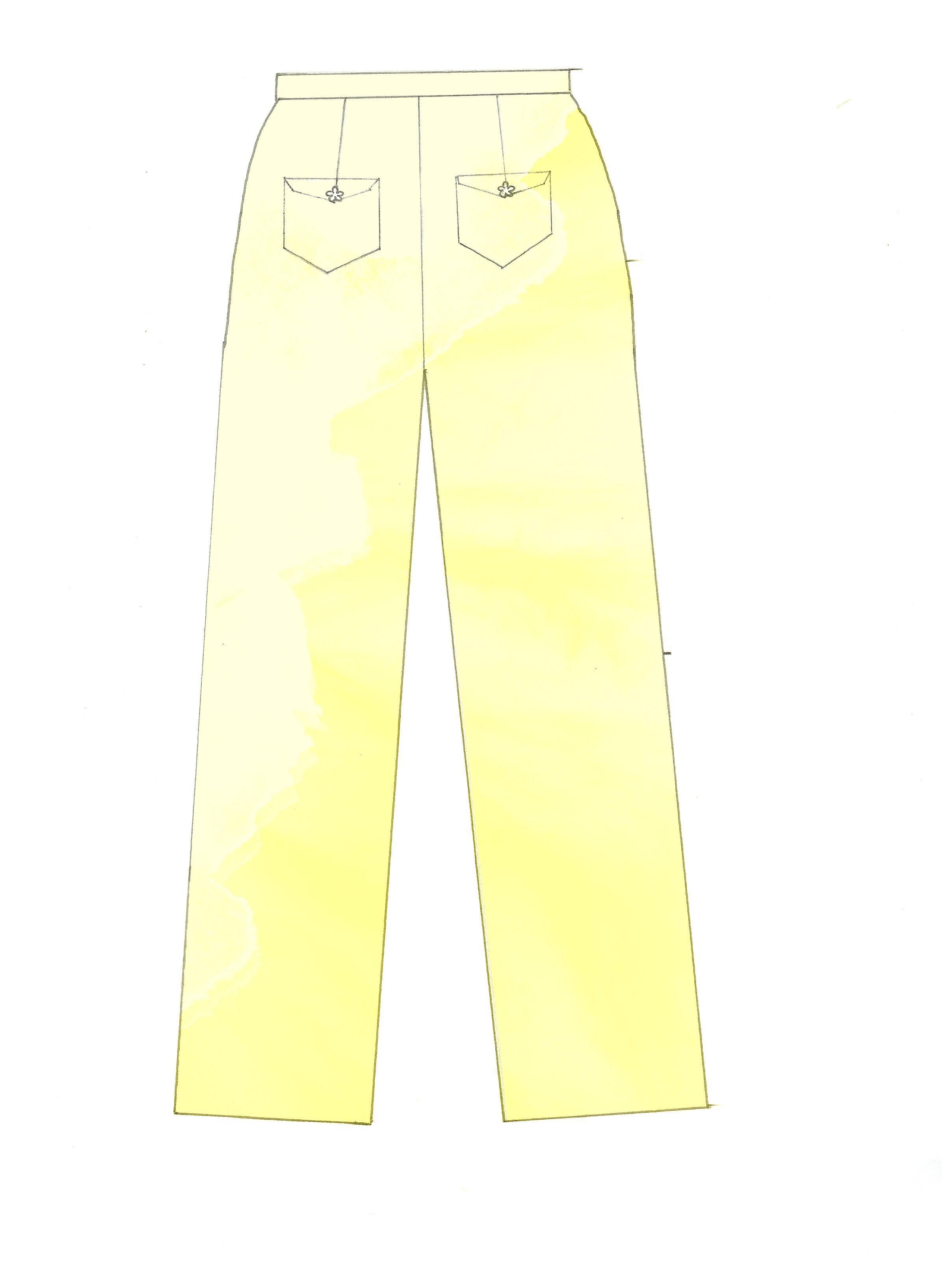 Pantaloni dritti con tasche sul dietro.