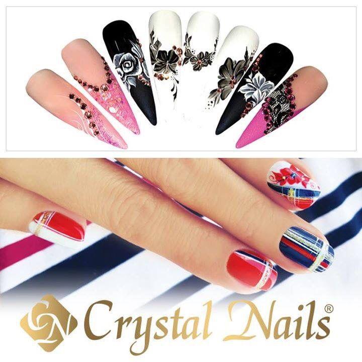 Hand painted nail designs Crystal nails | nails | Pinterest ...
