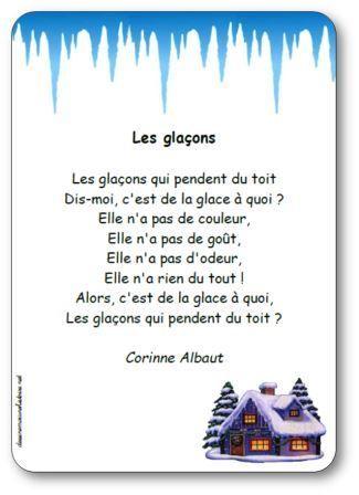 Poesie Les Glacons De Corinne Albaut Poesie Illustree A Imprimer