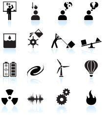 Physics in daily life black and white vector icon set vector art illustration