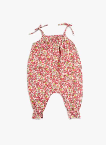 Strappy overalls, nice smoking on chest and ankle, buttons on the crotch. Red flowers print in harmony of red, orange, pink and green. 100% cotton Made in Port