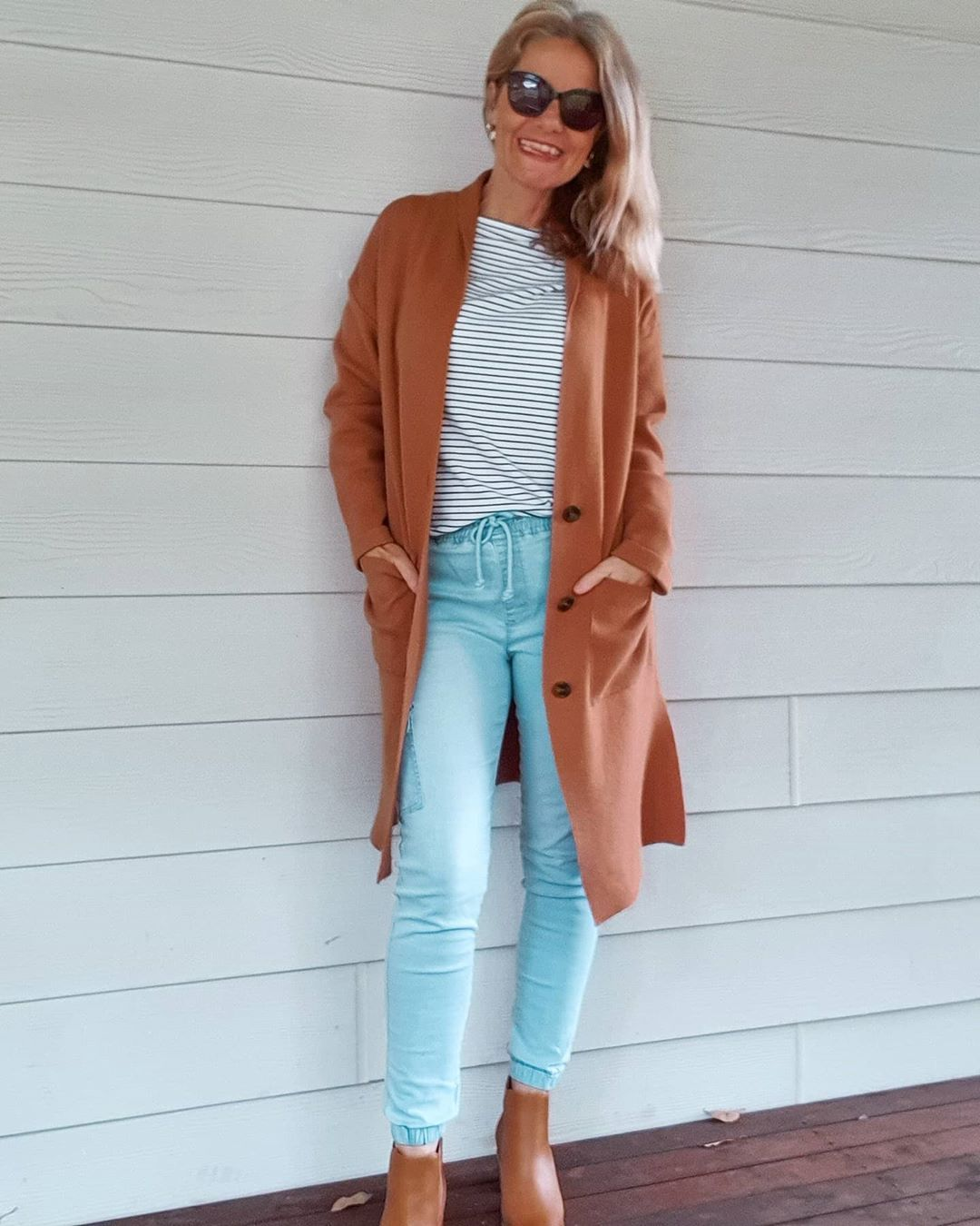Cardigan, tee, jeans and booties | For more style inspiration visit 40plusstyle.com