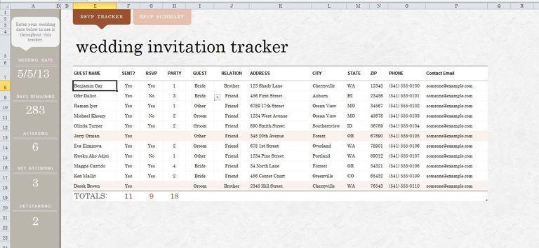 A wedding guest list template in Excel August 2017 Pinterest