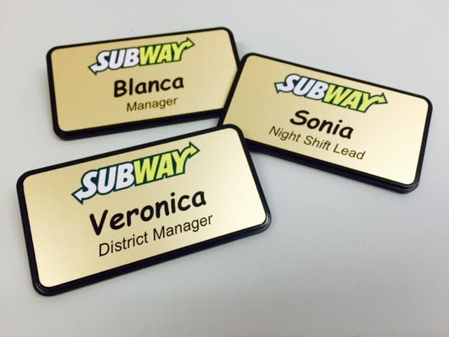 Gold Metallic Subway Name Badges  Get yours today! #badges #tags