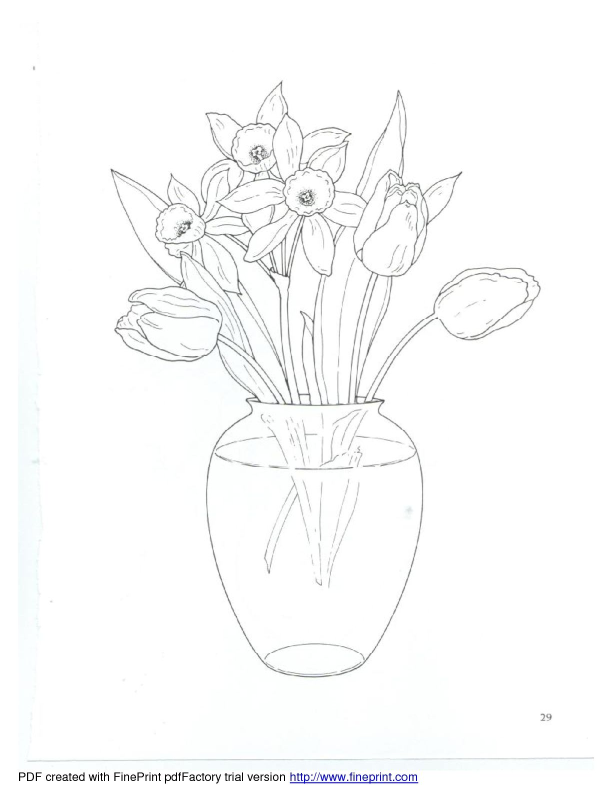Dover Floral Bouquets Coloring Book Tulips In Vase Drawings