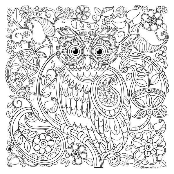 Whimsical Owl With Paisley Pattern Art Print By Laura Nikiel