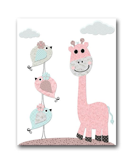 Pink Grey Blue Brown Canvas Baby Girl Wall Decor Canvas Nursery ...