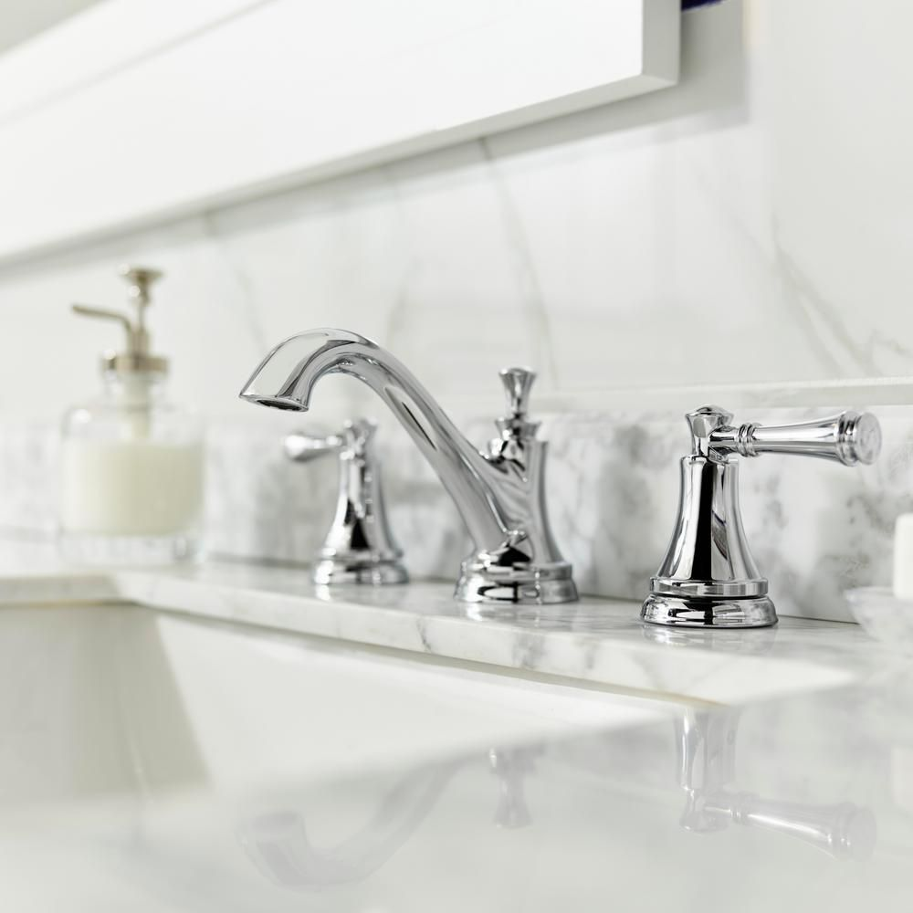 Delta Silverton 8 In Widespread 2 Handle Bathroom Faucet In Chrome 35713lf Eco The Home Depot Bathroom Faucets Chrome Bathroom Fixtures Bathroom Faucets Chrome [ 1000 x 1000 Pixel ]