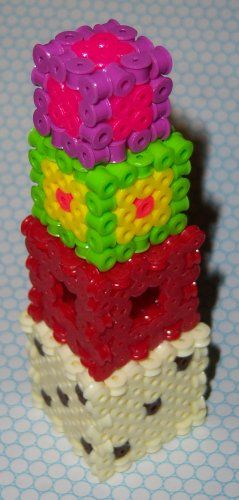 Perler beads - six-sided die (cube, dice, d6, 3D) - free cube patterns/instructions for different sizes