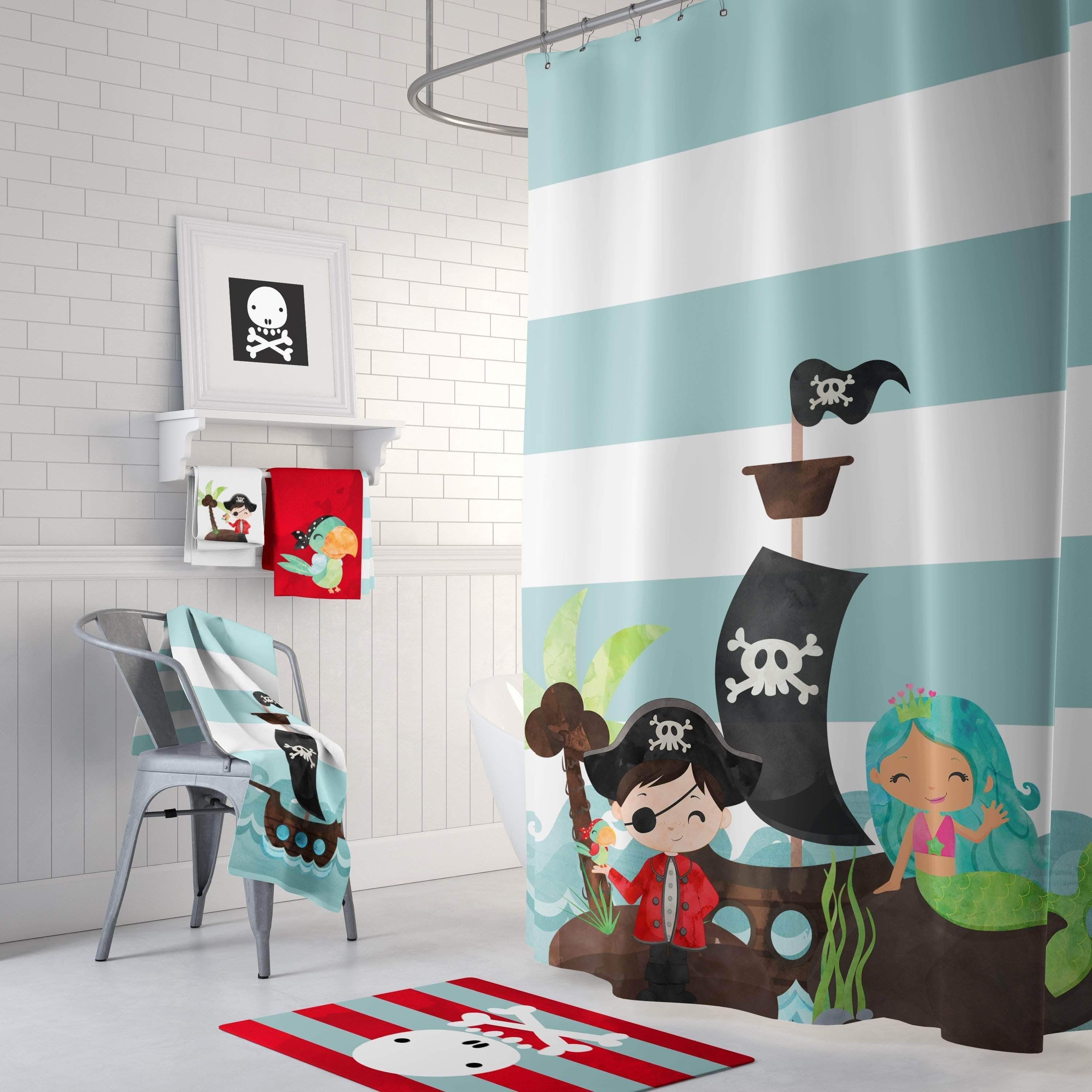 Pirate And Mermaid Bathroom Collection Childrens Bathroom Decor