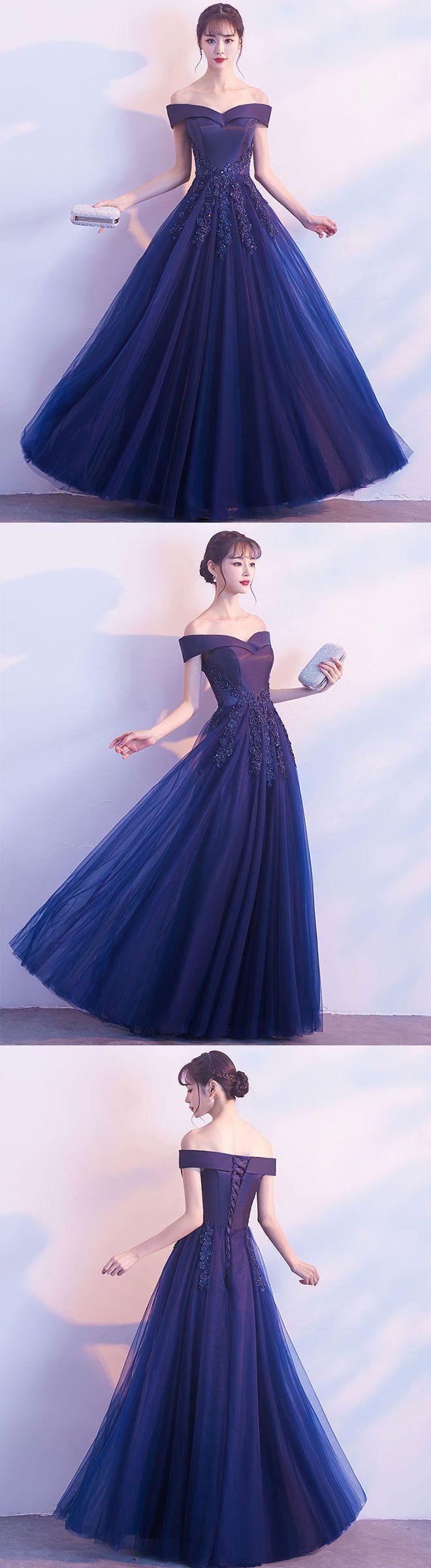 Dark blue off shoulder long prom dress blue evening dress blue