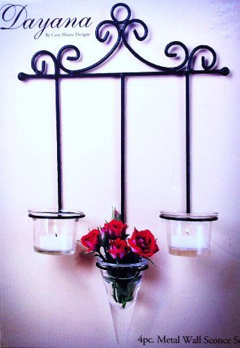 """Candle Holder Wall Mount Hanging Art Ornate Metal by Dayana. $19.00. Overall Measures 13.5"""" Long x 10"""" Wide x 2.5"""" Diameter. Comes with 3 Votive Holders (One Long and Two Short). Wonderful Gift for any Candle Lover. Made of Metal and Glass. Gorgeous Wall Mounted Candle Votive Set. Gorgeous 4 Piece Wall Mounted Romantic Candle Votive Holder Set."""