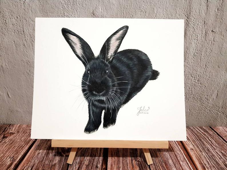 Rabbit Portrait Custom Pet Portrait