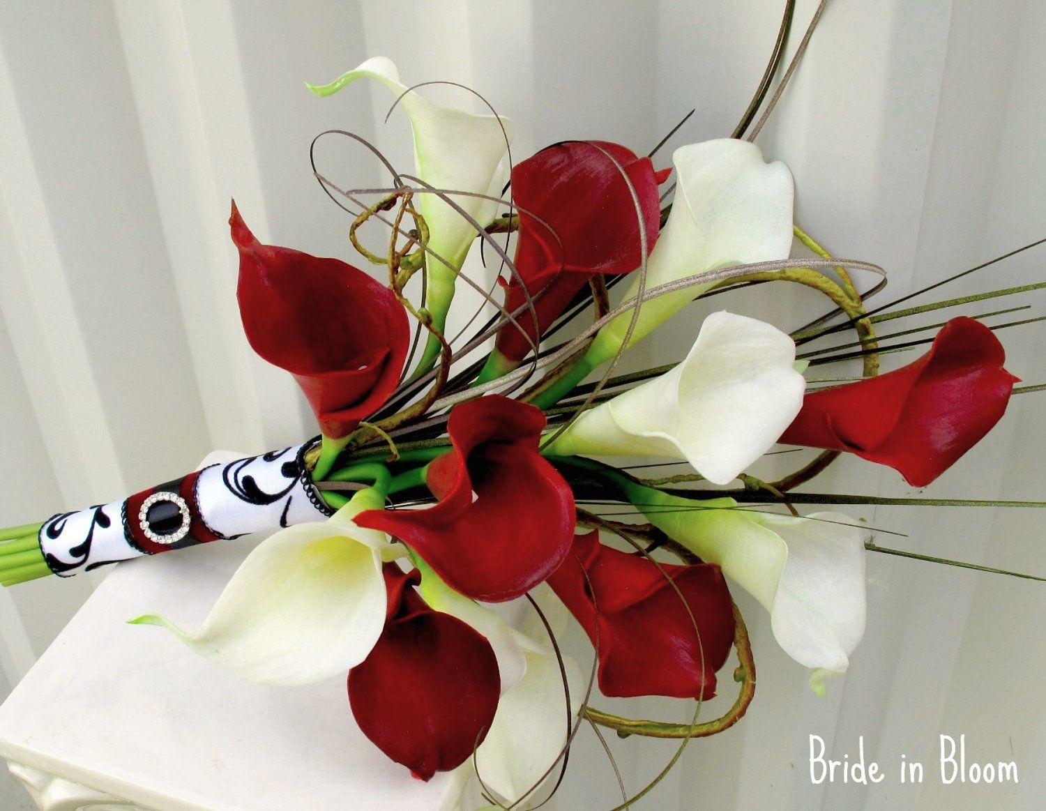 Wedding bouquet real touch red white calla lily bridal